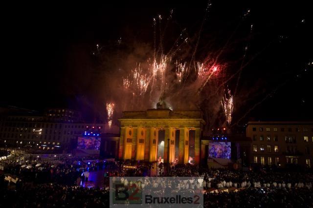Feu d'artifice à la porte de Brandenburg (crédit : Commission européenne)