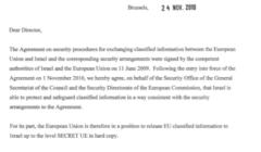 L'accord d'échange d'informations «classifiées» entre en vigueur avec Israël