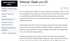 «Thank you, EU» dit le Jakarta Post