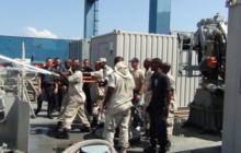 Les gardes côtes djiboutiens en formation de lutte incendie
