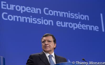 M Barnier J M Barroso and A Tajani talk to media