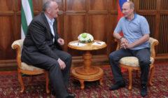 Le dirigeant abkhaze, Alexandre Ankvab, et Vladimir Poutine (crédit : Ria Novosti / Aleksey Nikolskii)