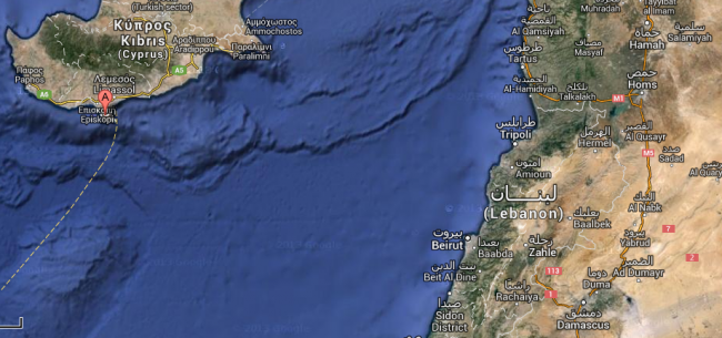 La base RAF se situe à 218 miles de l'aéroport de Damas (crédit : B2 / Google)