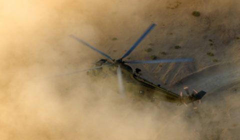 Entrainement du 845 Naval Air Squadron en Jordanie, aout 2013 (crédit : armée britannique)