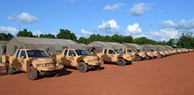 les véhicules du bataillon Elou (Crédit : EUTM Mali)