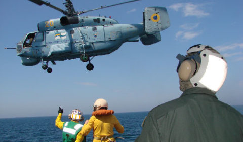 Lhélicoptère de bord Ka27 (crédit : marine ukrainienne)