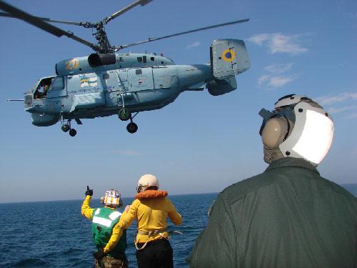 L'hélicoptère de bord Ka27 (crédit : marine ukrainienne)