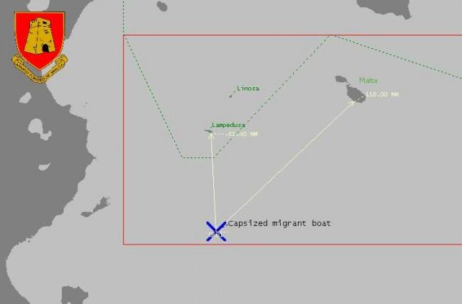 La carte du naufrage (Source : Forces armées maltaises)