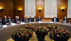 Les négociateurs. (De gauche à droite) Jacques Audibert (France), Sergei Ryabkhov (Russie), Helga Schmid (SEAE), Catherine Ashton (UE au nom des 5 1), Mohamad Javad Zarif (ministre iranien des affaires étrangères), Seyyed Abbas Araghchi (Iran) (crédit : SEAE)