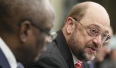 Martin Schulz et Ibrahim Boubacar Keita lors de la conférence de presse conjointe au Parlement européen de Strasbourg
