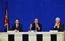 La conférence de presse finale à St Malo, cohabition oblige la France est représentée par deux personnes (crédit: Elysée)