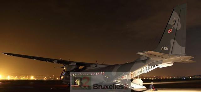 Le Casa C 295 en évacuation médicale (Crédit : Ministère polonais de la Défense)