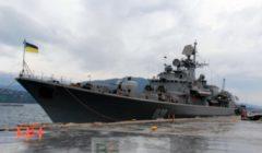 La frégate amarrée en Crète (crédit : ministère ukrainien de la Défense)