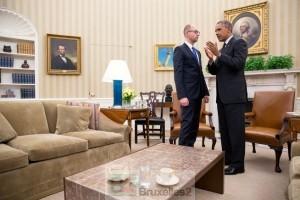 Le président Obama reçoit le Premier ministre ukrainien Yatsenyuk (crédit : Maison Blanche : USA)