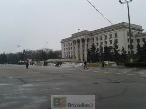 La place Koulikovo avec ses campements et ses barricades Loreline Merelle@B2
