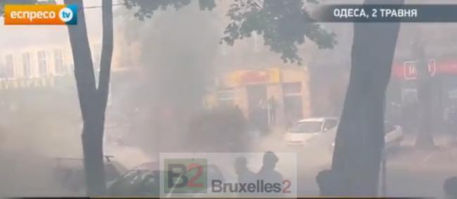 manifestations qui dérapent à Odessa, le 2 mai (crédit : Espresso Tv)