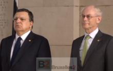JM Barroso et H Van Rompuy devant le monument aux morts (crédit : EBS / CUE)