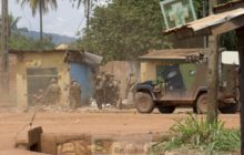 éléments de la compagnie Gris (Sangaris) aux abords du marché Fatima à Bangui le 20 août (Crédit : Défense française)