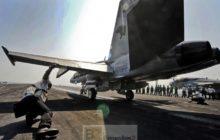 F/A18 Hornet sur le pont du porte-avions Eisenhower (crédit : US army, 2012)