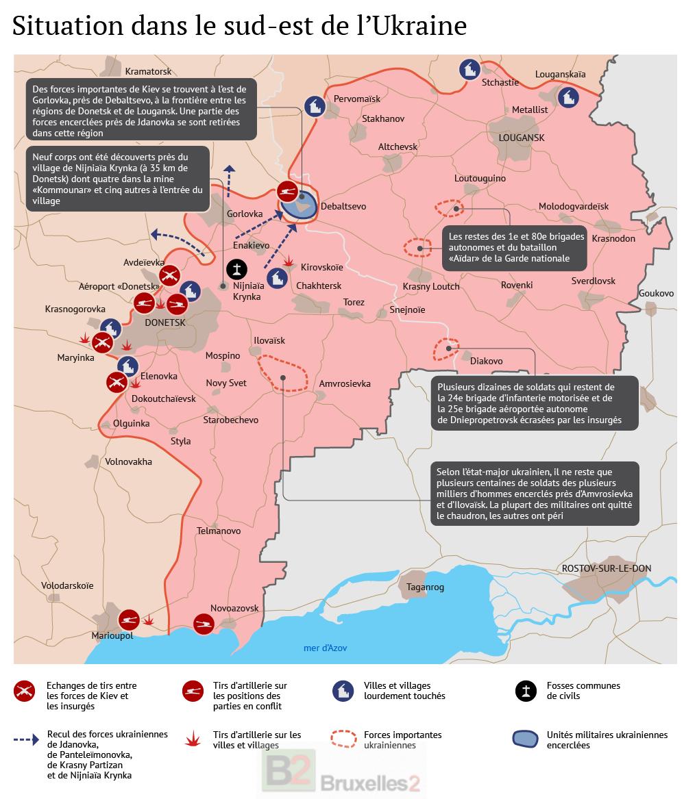Ukraine : zone russophone en création. Un conflit féroce dans le Donbass