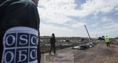 Les observateurs de l'OSCE sur le site du crash du MH17 (crédit : OSCE)