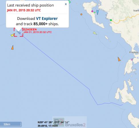 La dernière position de l'Ezadeen avant sa prise de contrôle par les gardes-côtes islandais et italiens (crédit : Vessel Finder / B2)