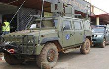 Véhicule espagnol à Bangui (crédit : MOD)