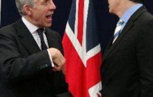 Jack Straw avec Tony Blair lors de la présidence britannique de lUE (photothèque de la Commission européenne)