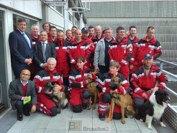 Equipe de secours de la B-Fast avant départ (crédit : ministère belge de l'Intérieur)
