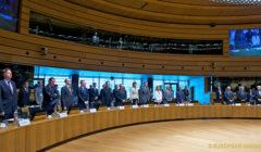 la minute de silence à la mémoire des naufragés de Méditerranée au Conseil des Affaires étrangères, à Luxembourg, en avril