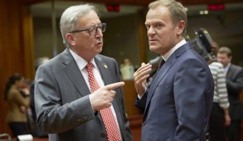 La longue et âpre discussion sur la répartition des demandeurs dasile a aussi été une bataille entre institutions, entre Juncker et Tusk qui nétaient pas vraiment sur la même longueur donde (crédit : CUE)