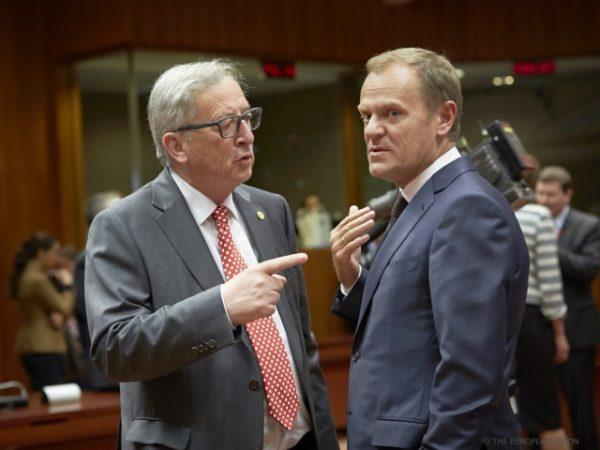 La longue et âpre discussion sur la répartition des demandeurs d'asile a aussi été une bataille entre institutions, entre Juncker et Tusk qui n'étaient pas vraiment sur la même longueur d'onde (crédit : CUE)