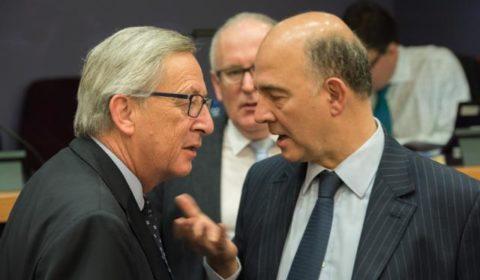 Pierre Moscovici avec JC Juncker (crédit : CE)