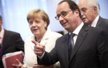 Dans la foulée de laccord franco-allemand sur la Grèce, François Hollande veut pousser lavantage en reprenant linitiative sur la gouvernance de la Zone euro (A. Merkel et Fr. Hollande lors du sommet du 12/13 juillet sur la Grèce - crédit : CUE)