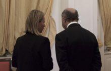 Fed. Mogherini et Laurent Fabius en conciliabules le 10 juillet à Vienne (crédit : SEAE)