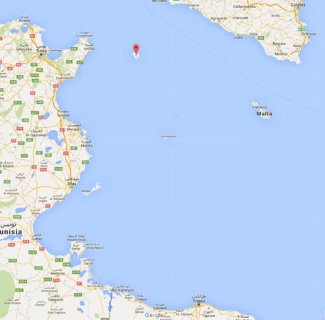 Carte PantelleriaSicileTunisie