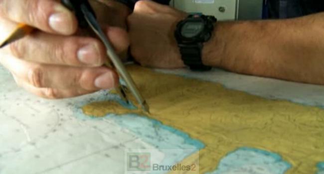 Un navire de l'OTAN traçant sa route en Méditerranée (crédit : OTAN / Active Endeavour)