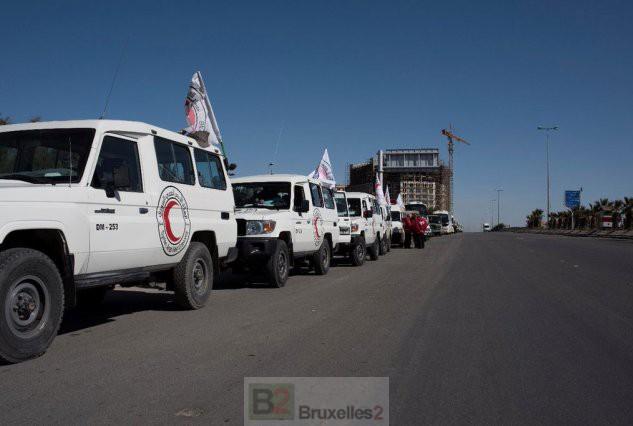 Convoi sur la route de Syrie (crédit : PAM / ONU)