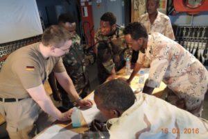 Communications training for SLCG IOR nominees onboard EU Naval Force FGS German Corvette Erfurt in Berbera (Crédit: EUCAP Nestor)