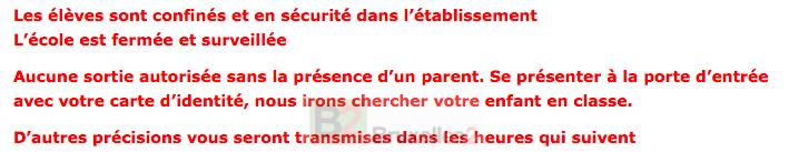 La consigne affichée sur le net ou envoyée aux parents dans les écoles bruxelloises (crédit : CE)