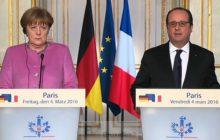 Sur le site de lElysée, on voit un François Hollande parlant à laise, et une Angela Merkel, renfrognée, écouteurs à loreille,semblant incapable de comprendre (crédit : Elysée)