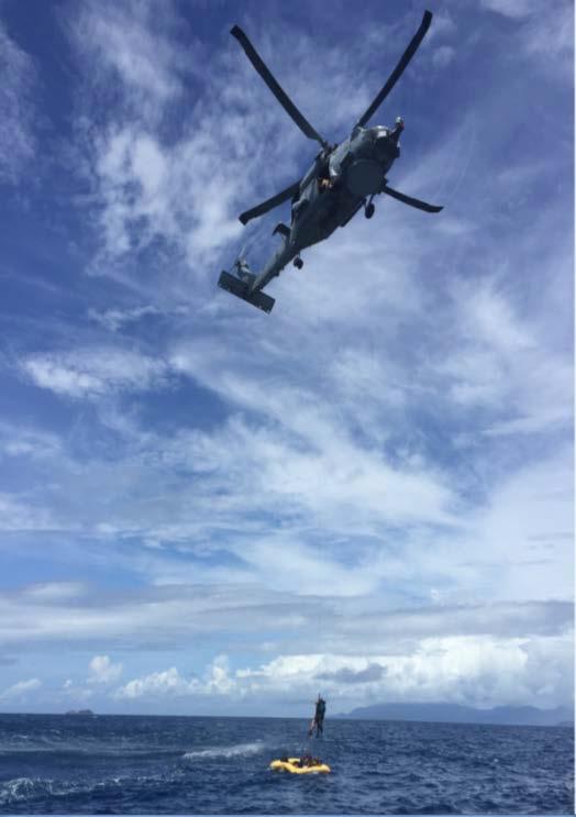 L'armée de l'air des Seychelles prête à survivre en mer