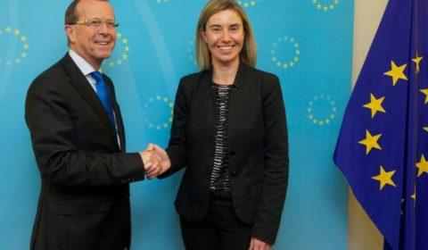 Entre Kobler et Mogherini, la prochaine rencontre à New York risque dêtre moins souriante (Crédit: Commission européenne / archives B2, février 2016)