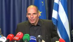 Yannis Varoufakis devant la presse après leurogroupe de juin 2015 (crédit : EBS / Archives B2)