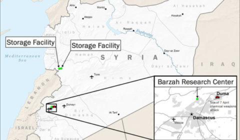 La coalition américano-franco-britannique frappe trois sites syriens (V5)